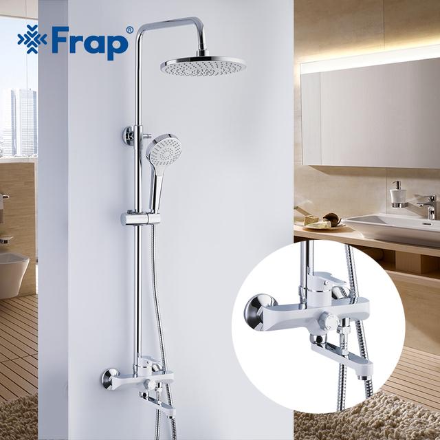 Bath Shower Faucets Set Bathtub Mixer Faucet Rainfall Shower Tap Bathroom Shower Head Exposed Shower Mixer Tap F2418