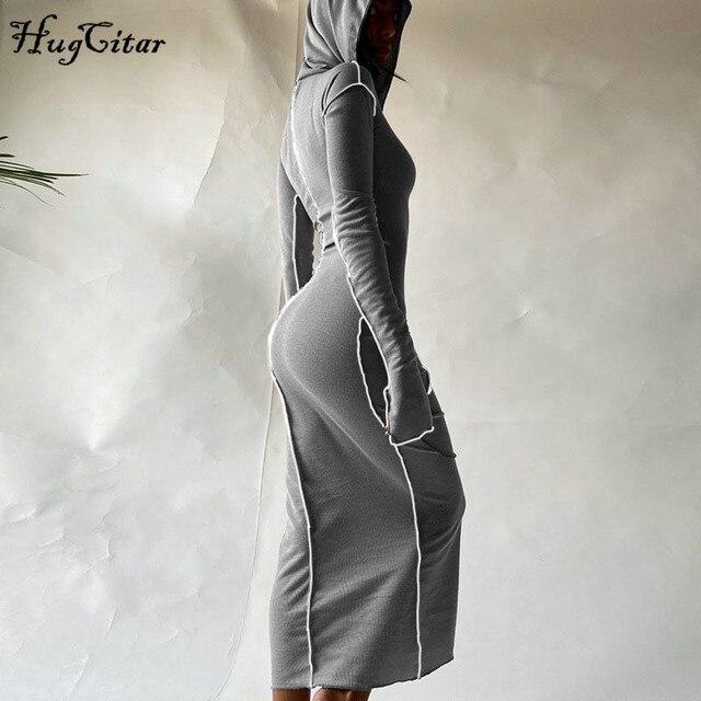 Женское платье макси Hugcitar, с длинным рукавом, с капюшоном, в стиле пэчворк, на осень и зиму, Повседневная Уличная одежда, 2020 2