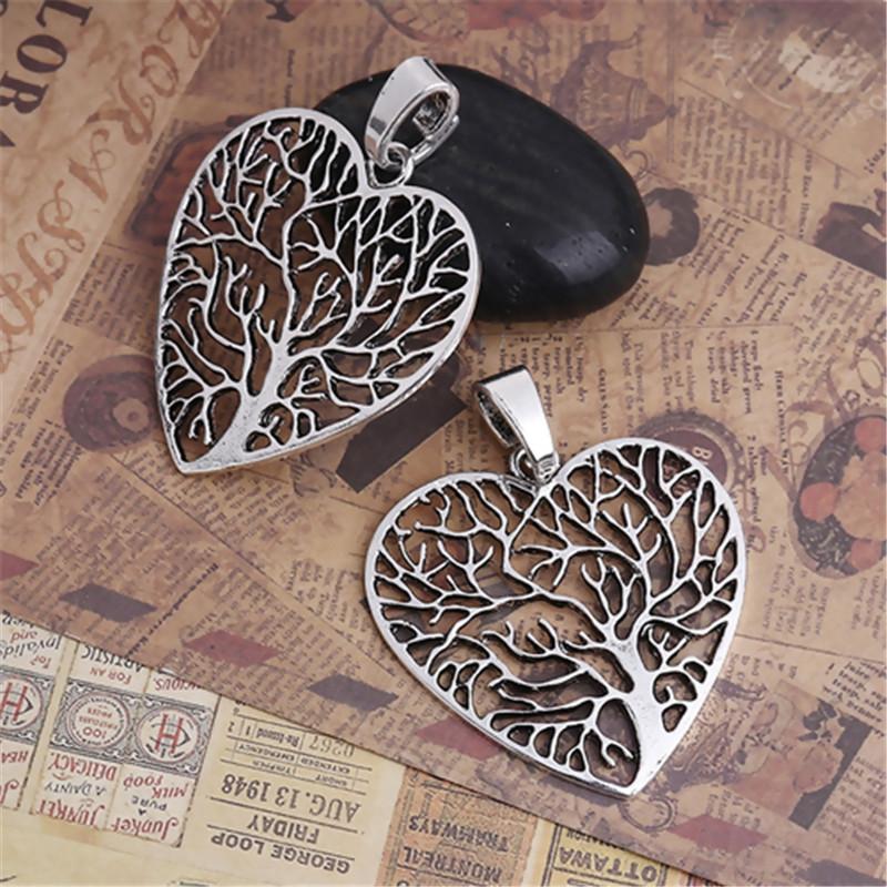 DoreenBeads Fashion Zinc Based Alloy Pendants Heart Silver Color Tree Pattern Jewelry DIY Charms 64mm(2 4/8\