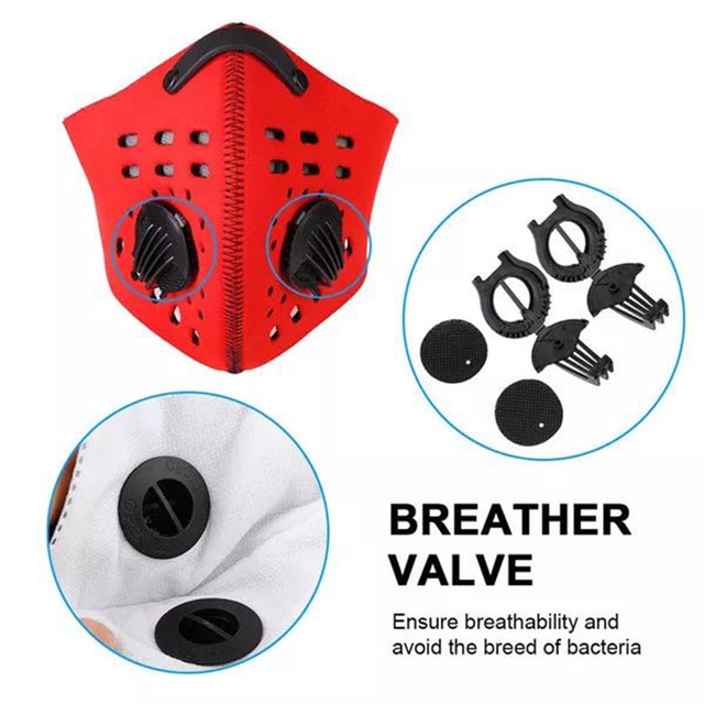 1Pcs Double Air Valve PM 2.5 Dust Mask Anti Dust Mask Anti-Bacterial Activated Carbon Filter Anti Pollution Mask Flu-proof Mask 4