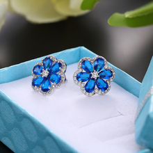 Promotion fashion shiny zircon star earring stainless steel red green blue white stud jewelry female gift anti allergy