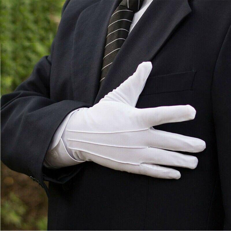 Women Men White Gloves 1 Pair Cotton Gloves Khan Cloth Quality Check Gloves Rituals Play