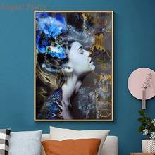 Blue Flower forest Abstract Woman Painting Canvas Art Wall Print Picture Prints Figure Home Decor Canvas No Frame Home Decor(China)
