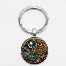 Fashion Witches Steampunk Inspired Jewelry Glass Cabochon Pendant Keychains Ladies Statement Keyring Trinket