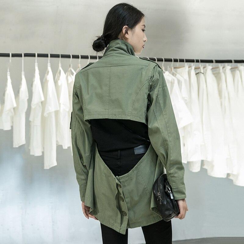 [EAM] Loose Fit Back Irregular Two Ways Wear Big Size Jacket New Lapel Long Sleeve Women Coat Fashion Spring Autumn 2020 1DA902 2