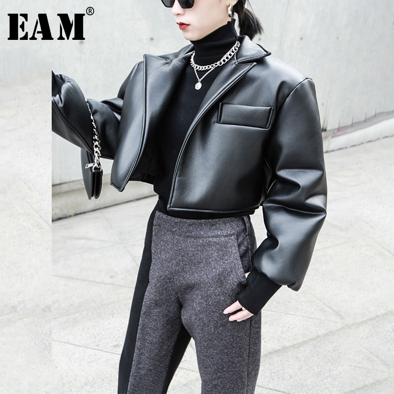 [EAM] Loose Fit Black Brief Pu Leather Big Size Thick Jacket New Lapel Long Sleeve Women Coat Fashion Tide Spring 2020 1N327