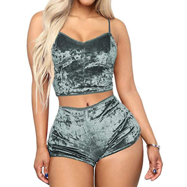 Fashion Women Solid Sleepwear Sexy Spaghetti Strap Shorts Pajama 2pcs Set Ladies Sleepwear female 6