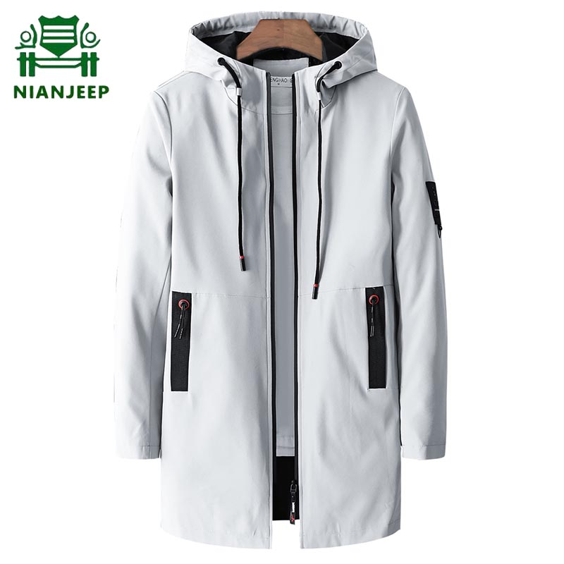 2020 New Casual Fashion Long Jacket Men Brand Slim Fit Thin Hooded Long Trench High Quality Quick-Drying Jackets Clothing Male