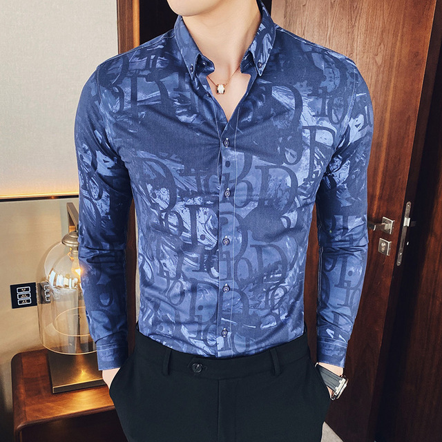 Brand Men Shirt Long Sleeve Letters Printing Mens Business Slim Fit Dress Shirts Casual Streetwear Social Clothing Chemise Homme