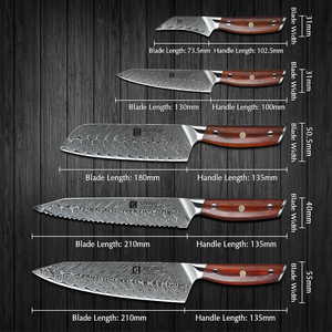 Image 2 - XINZUO 5 PCS Kitchen Knife Set Damascus Stainless Steel Knife Japanese New Chef Paring Santoku Slicing Utility Cooking Knives
