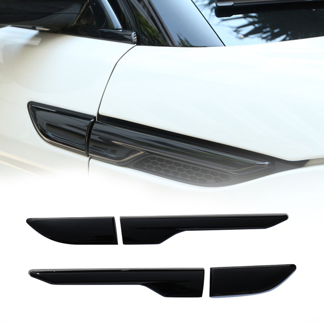 2pcs Car Black Silver Side Air Vent Outlet Cover Decoration Stickers Land Rover Range Rover Evoque 2012 2013 2014 2015 2016 2017