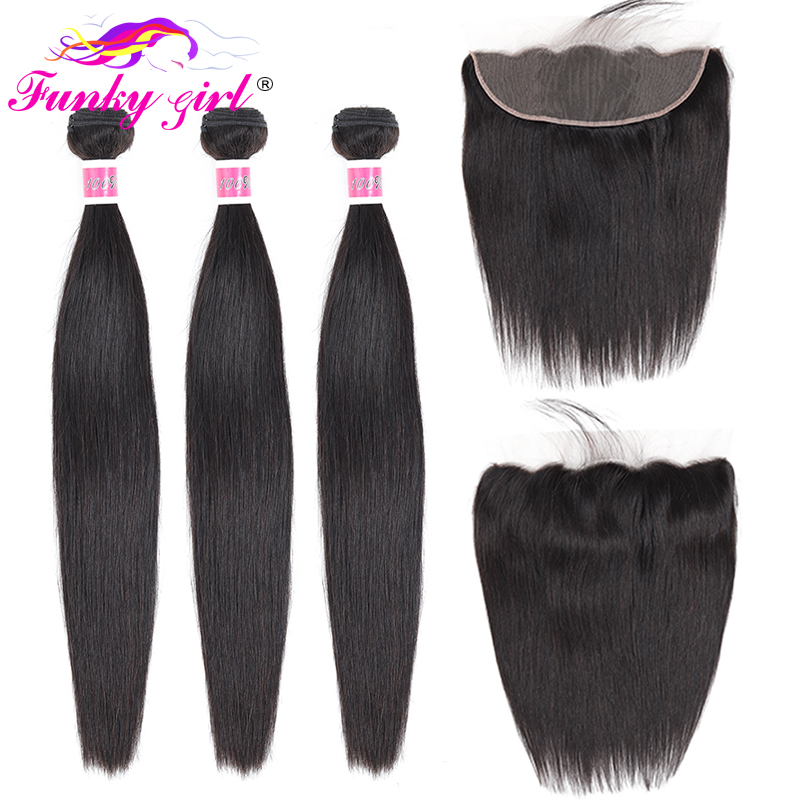 Funky Girl Malaysia Straight Ear To Ear Lace Frontal Closure With Bundles Human Hair Weave Non Remy Hair Extension 3/4 Bundles