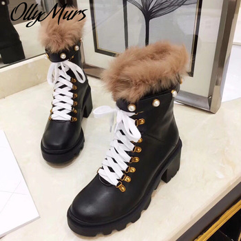 Ollymurs New Genuine Leather Platform Boots Women Pearl Beads Fur Thick heel Ankle Boots Botas Mujer prowow new high quality genuine leather lace up women winter boots sexy platform boots chunky heel boots botas mujer