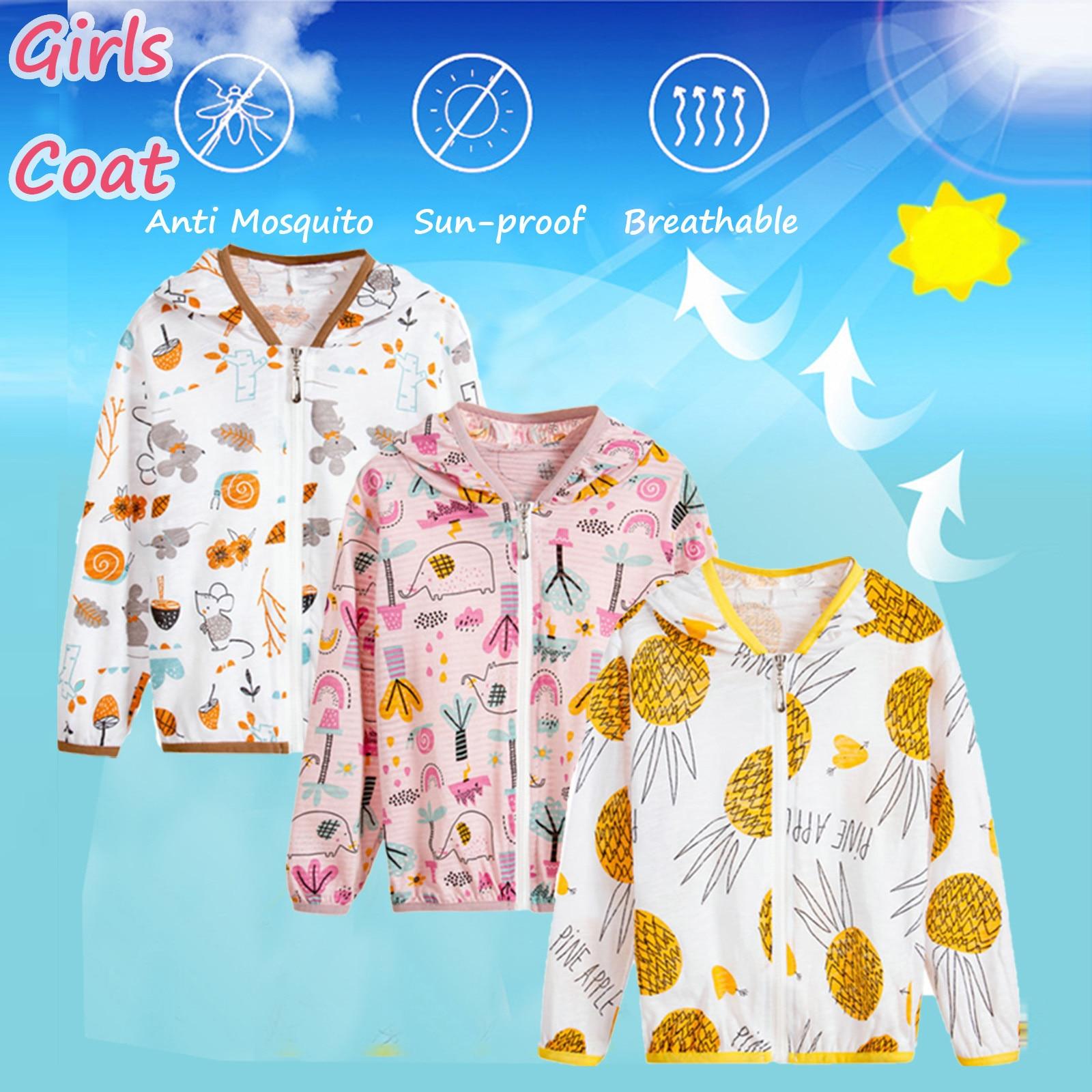 Toddler Kids Boys Girls Sunscreen Coat Summer Fashion Cartoon Jackets Hooded Outerwear Zipper Coats Children Sunscreen Clothes