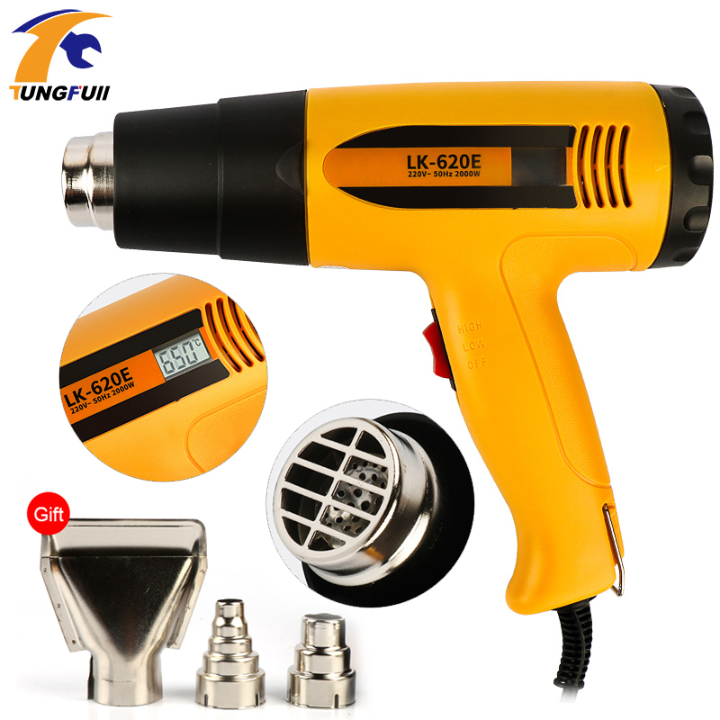 2000W Heat Gun Hot Air Gun Thermoregulator Professional LCD Display Soldering Hair Dryer Construction Power Tool 220V EU