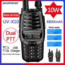Nowy Baofeng UV X10 Radio 10W mocny walkie talkie 2 PTT dwuzakresowy VHF UHF 128 kanały CB dwukierunkowe Radio lepsze niż UV 5R UV 82
