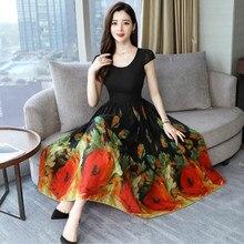 2019 Vintage Print Long Sleeve Maxi Dresses Autumn Winter 3xl Plus Size Chiffon Midi Dress Elegant Women Party Vestidos#J30 on AliExpress
