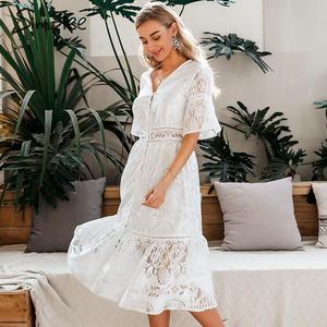 Image 3 - Simplee חלול החוצה תחרה שמלת נשים v צוואר גבוהה מותן פרע קיץ לבן שמלת גברת אביב שיק slim fit המפלגה שמלת vestidos