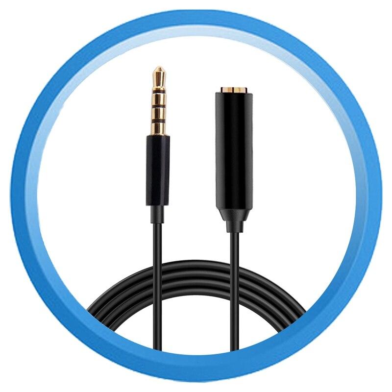Удлинительный шнур для микрофона 3,5 мм, 2 м, Удлинительный кабель для микрофонов, 4-полюсный проводной аудиокабель из ТПЭ с металлическим кор...