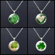 Women Fashion St.Patricks Day Daisy Shamrock Green Round Tibetan Silver Irish Pendant Lucky Grass Necklace
