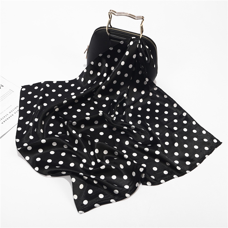 60x60cm Black White Small Square Polka Dot Neck Collar Scarf Foulard Femme Handbag Decoration Silk Stain Head Scarfs For Ladies