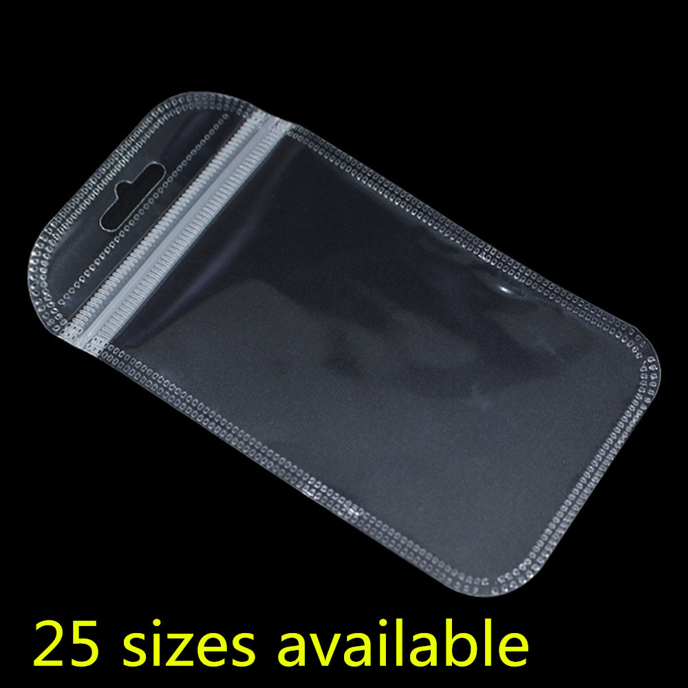 100PCS/ Lot Clear Plastic Zip Lock Bags Electronic Sundry Storage Pouches Resealable Zipper Poly Jewelry Package Bag Hang Hole