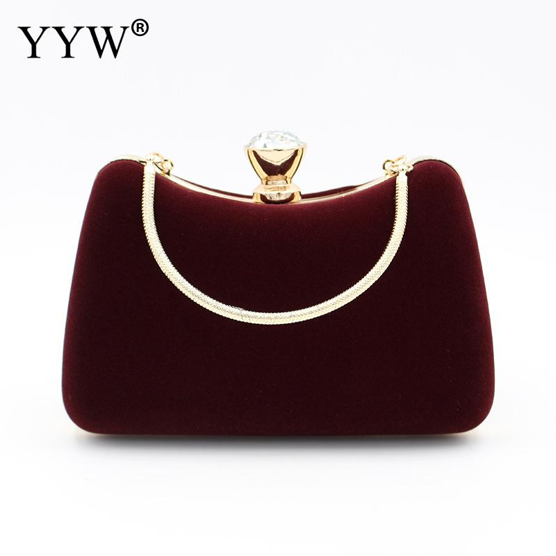 Burgundy Women Evening Bag Clutch Purse Handbag With Detachable Chain For Wedding Cocktail Party Velvet Party Bridal Sac Purse