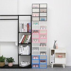 Image 4 - 6pc caixas de armazenamento caixa de sapato Transparente engrossado caixa organizador sapatos à prova de poeira pode ser sobreposto combinação armário da sapata