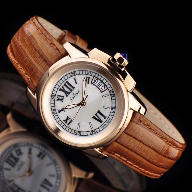 למעלה יוליוס גברת נשים של 5 צבעים אוטומטי תאריך שעון יד אלגנטי מעטפת רטרו אופנה שעות צמיד עור ילדה יום הולדת מתנה