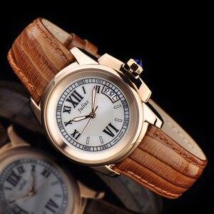 Image 1 - Top Julius Dame frauen 5 Farben Auto Datum Armbanduhr Elegante Shell Retro Mode Stunden Armband Leder Mädchen Geburtstag geschenk