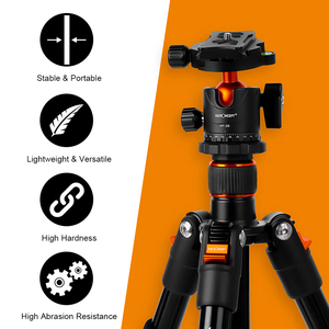 Image 2 - K&F CONCEPT Portable Camera Tripod Stand Aluminum Aolly 4 Section 63.4in/161cm with Panoramic 360° Swivel Ball Head for DSLRs