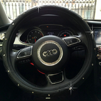 black diamonds genuine Leather steering wheel cover 38cm car super accessories