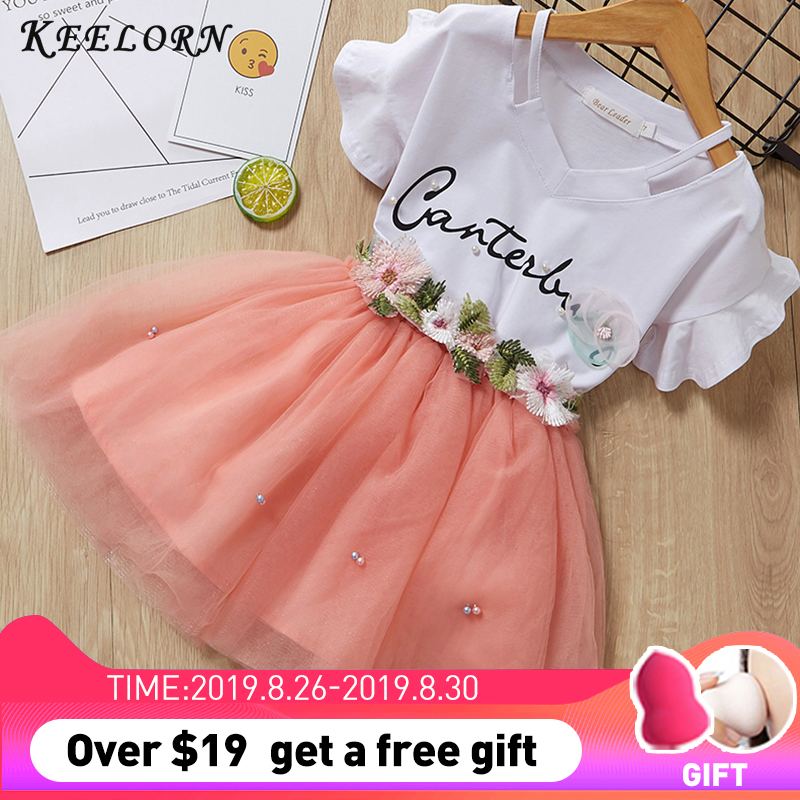 Keelorn Kids Girls Clothing Sets 2019 Summer Brand Girls Clothes White Cartoon Short Sleeve T-Shirt+Dress 2Pcs Children Clothes