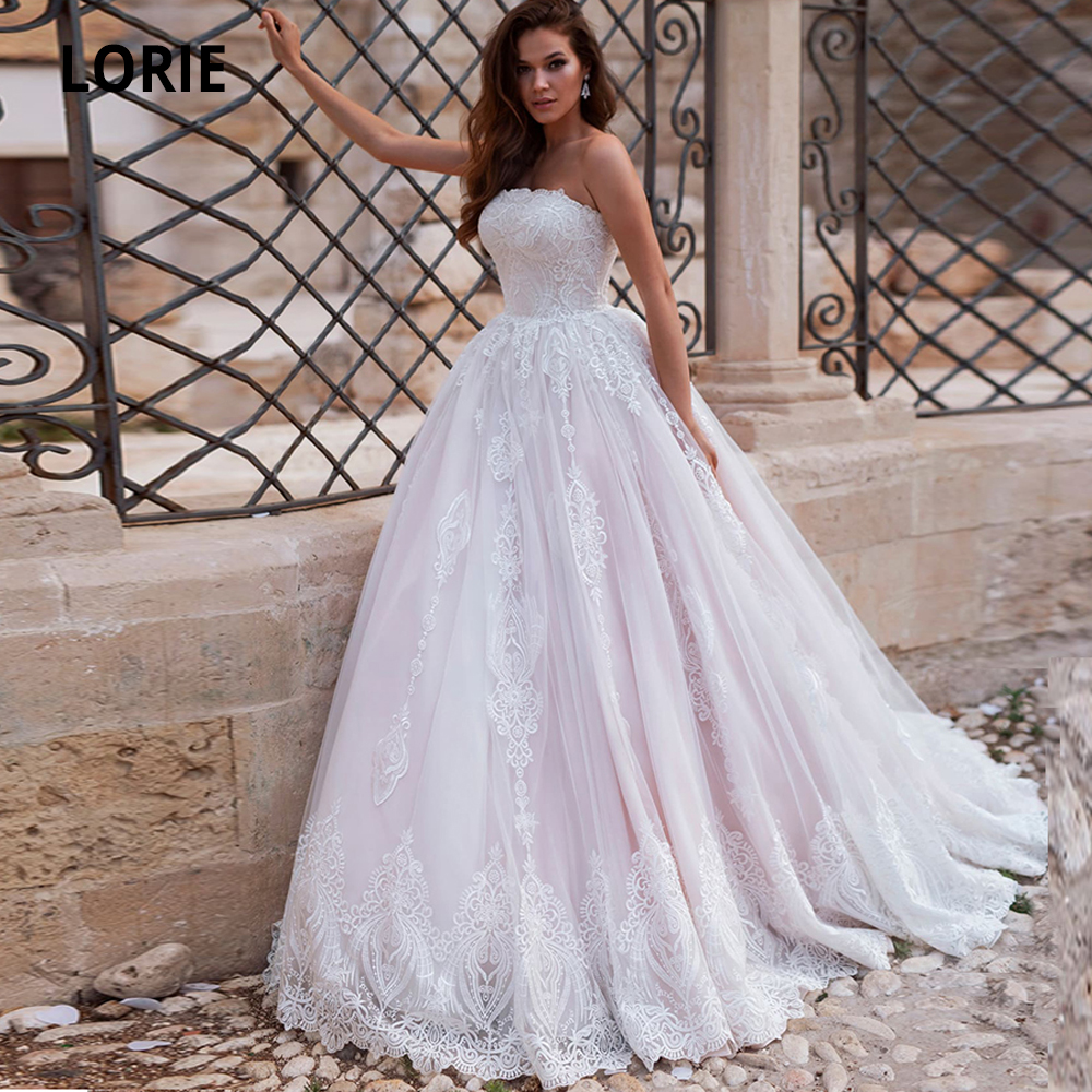 LORIE 2020 New Spring Lace Pink Wedding Dresses A Line Bohemia Beach Bridal Dress Back Lacing Elegant Wedding Gowns Plus Size