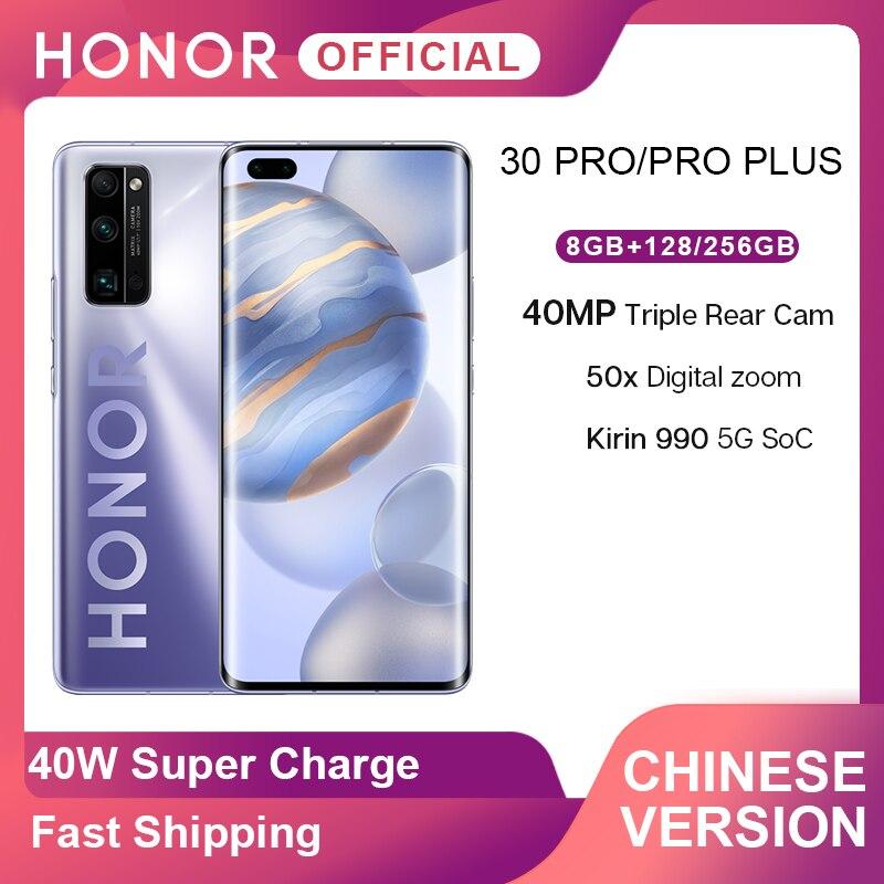 Neue Ankunft Ehre 30 Pro 30 Pro Plus 5G Smartphone Kirin 990 6.57 ''40MP Triple Cam IP54 Wasserdicht wi-fi 6 + 40W Aufzurüsten