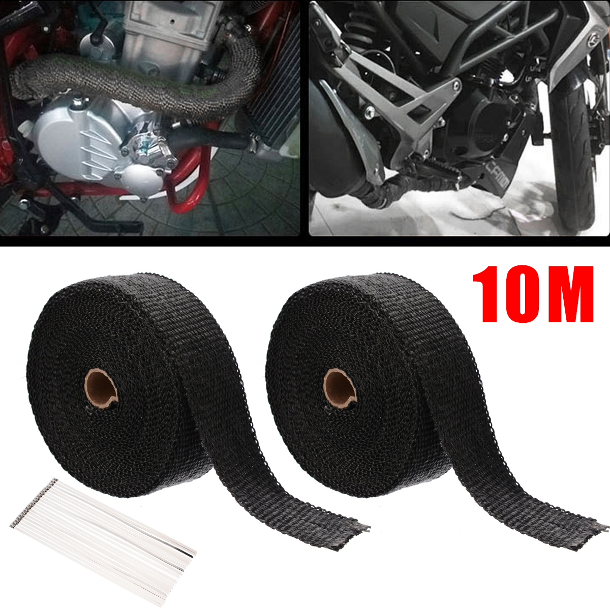 2 Roll Motorcycle Incombustible Heat Exhaust Thermal Wrap Tape Stainless Ties 10 Meters 1 Roll with 20 Cable Ties