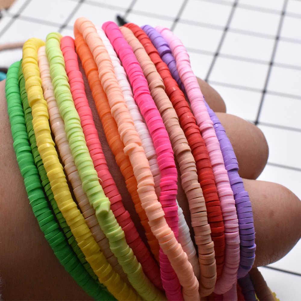 4mm multi cores plana redonda feito à mão contas de argila de polímero chip disco solto espaçador grânulos para moda jóias fazendo diy colar
