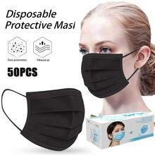 50 шт., 4 слоя, черный фильтр, анти-бактерии, одноразовые маски, маски для лица, защита от пыли, PM2.5, защитная маска, нетканый материал