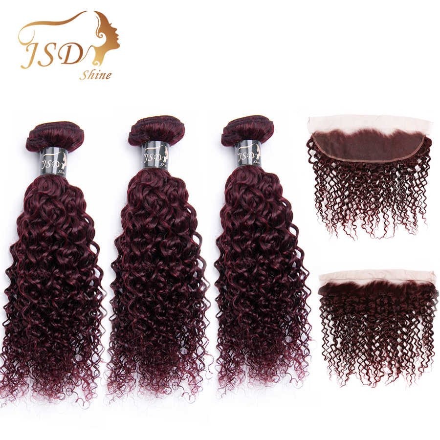 JSDShine 99j Burgundy Malaysian  Kinky Curly Hair Weave Bundles With Frontal Human Hair Bundles With Closure Frontal Non Remy
