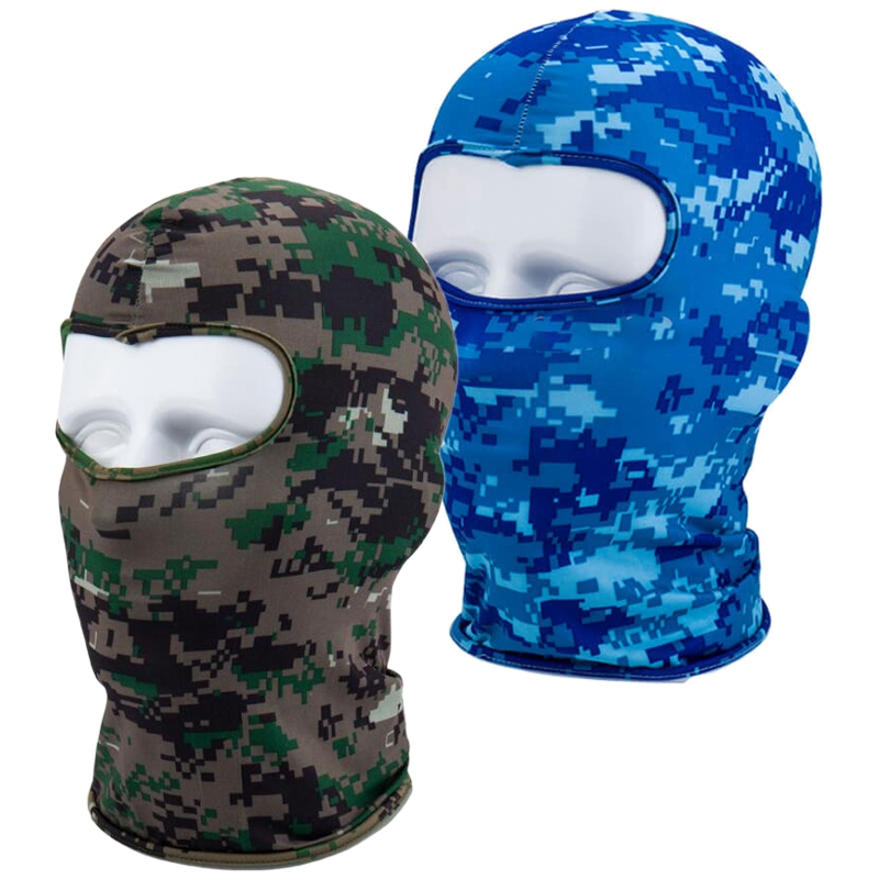 2pcs Outdoor Full Face Mask Lycra Balaclava Thin Motorcycle Cycling Ski CS Mask - Digital Blue Camo & Digital Green Camo