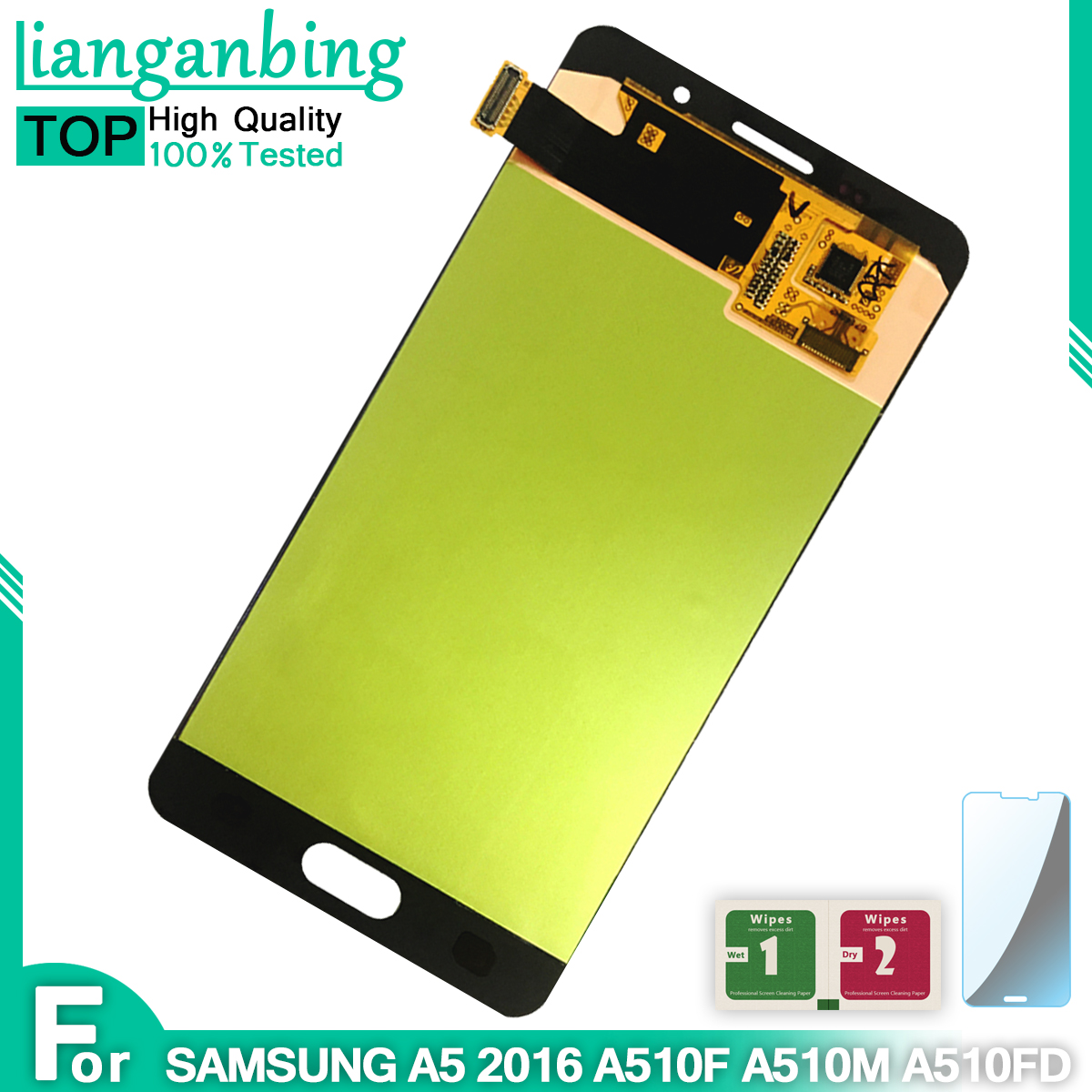 New Super AMOLED LCD A5 2016 A510F A510M A510FD A510  Display 100% Tested Working Touch Screen Assembly For Samsung Galaxy A510