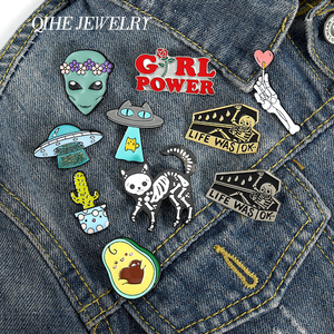 QIHE JEWELRY Skeleton Cat Enamel Lapel Pins Alien Avocado UFO Cute Brooches Badges Fashion Pins Gifts for Friends Pins Wholesale