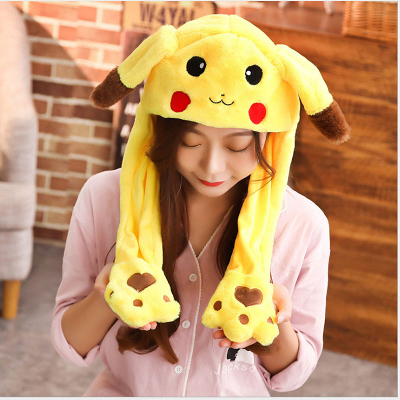 Women Moving Hat Rabbit Ears Plush Sweet Cute Airbag Cap Cartoon Plush Doll Toy Pikachu Stitch Hat Children Gift Cosplay Hat