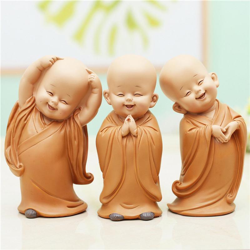 Monk Figurines Car Decoration Crafts,Home Decor Kungfu Monks Figure Car Ornament Buddha Boy Accessories Figurines Tea Pet