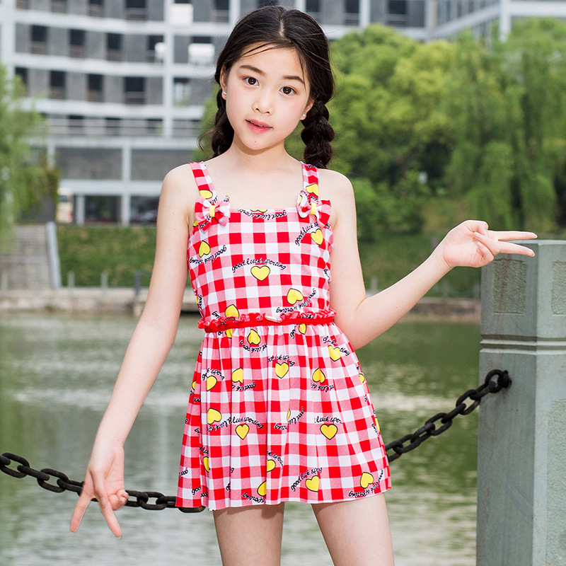 New Style Two-piece Swimsuits Summer Girls Swimwear Korean-style Plaid Love Heart Big Kid Split Type Tour Bathing Suit Swimwear
