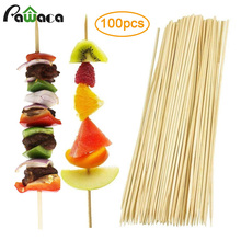 100 шт./лот 30 см палочки из натурального бамбука барбекю кебаб бамбуковые шампуры нетоксичные мясо овощи одноразовые барбекю знак еды