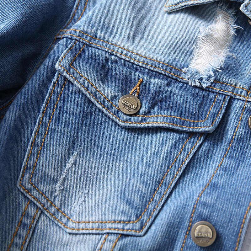 2020 nowy styl klasyczny dżinsy męskie jasnoniebieska kurtka moda dziura Slim Fit kurtka dżinsowa płaszcz męskie markowe ciuchy
