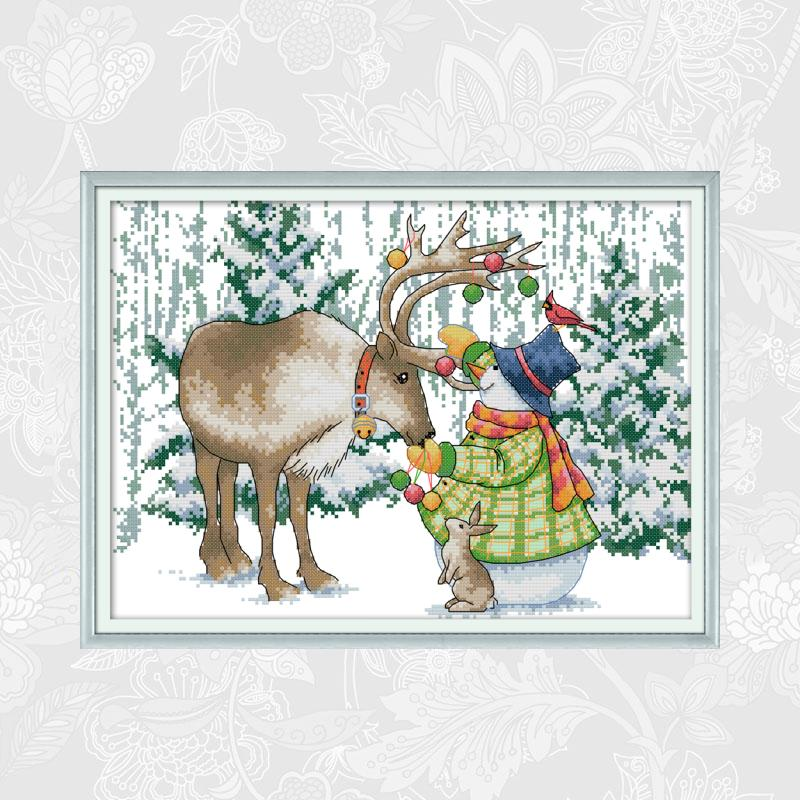 Joy Sunday Cross Stitch kits 14ct Counted Canvas 11ct Printed Fabric Elk and Snowman Embroidery DIY Handmade Needlework Crafts image
