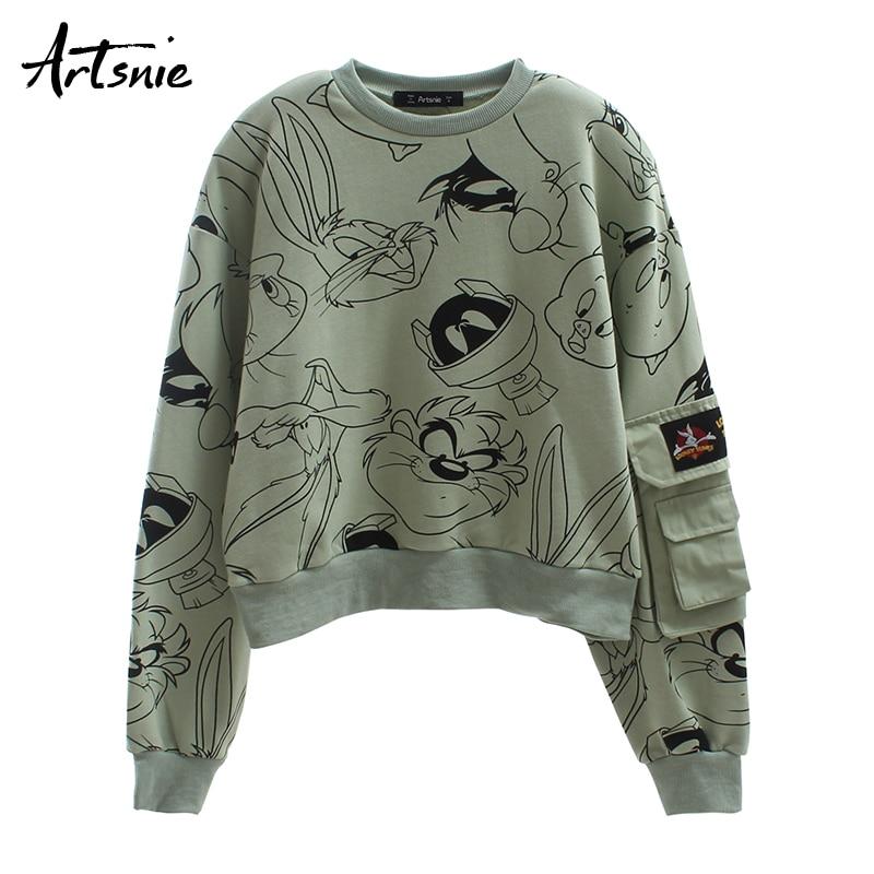Artsnie Streetwear Cartoon Print Cropped Sweatshirt Women Autumn O Neck Drop Shoulder Crop Hoodies Casual Pockets Sweatshirts