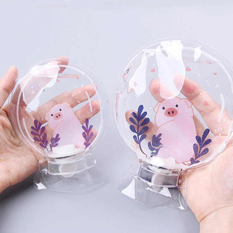 الكرتون اليد الدافئة زجاجات مياه صغيرة ساخنة المحمولة Piral غطاء عازل جهاز تدفئة محمول شفافة الفتيات جيب اليد قدم أكياس الماء الساخن